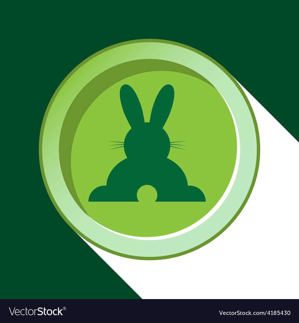 Button with dark green back easter bunny and vector | Price: 1 Credit (USD $1)