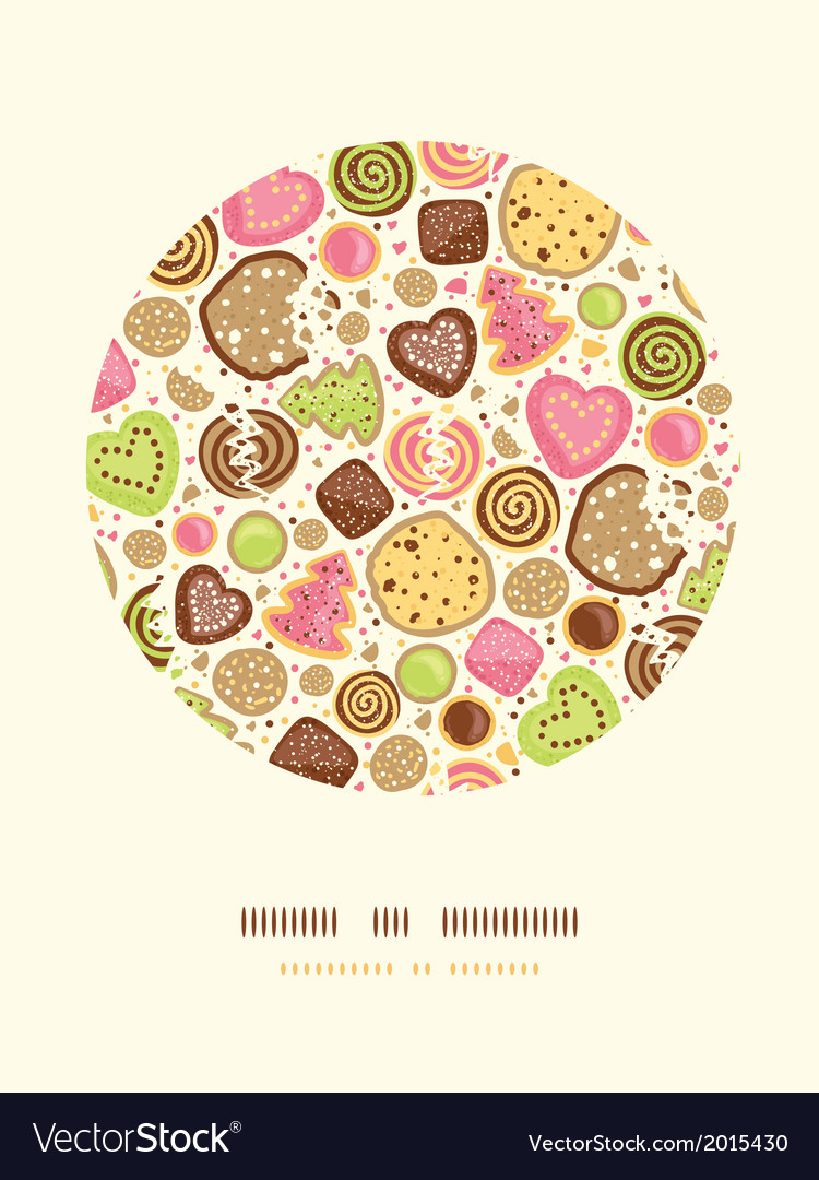 Colorful cookies circle decor pattern background vector | Price: 1 Credit (USD $1)