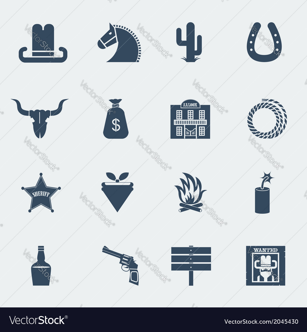 Cowboy icons wild west pictograms isolated vector | Price: 1 Credit (USD $1)