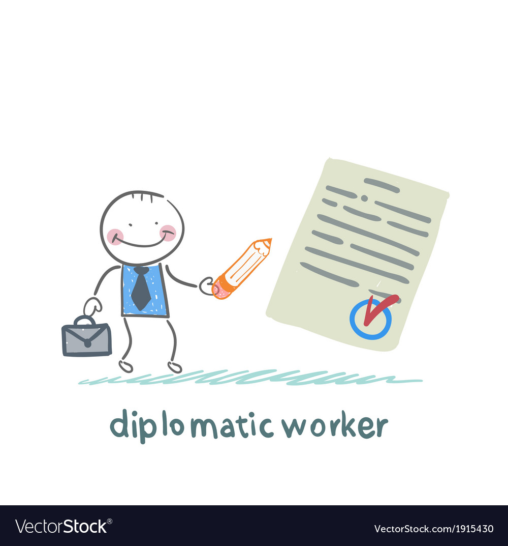 Diplomatic worker writes the document vector | Price: 1 Credit (USD $1)