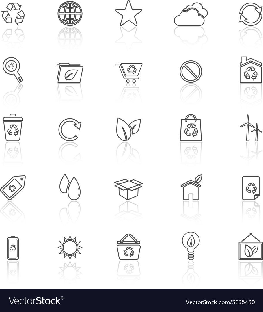Ecology line icons with reflect on white vector | Price: 1 Credit (USD $1)