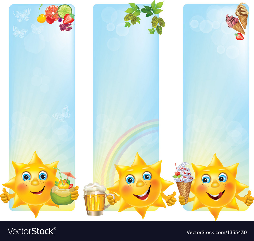 Funny sun with cool desserts and drinks vertical vector | Price: 1 Credit (USD $1)