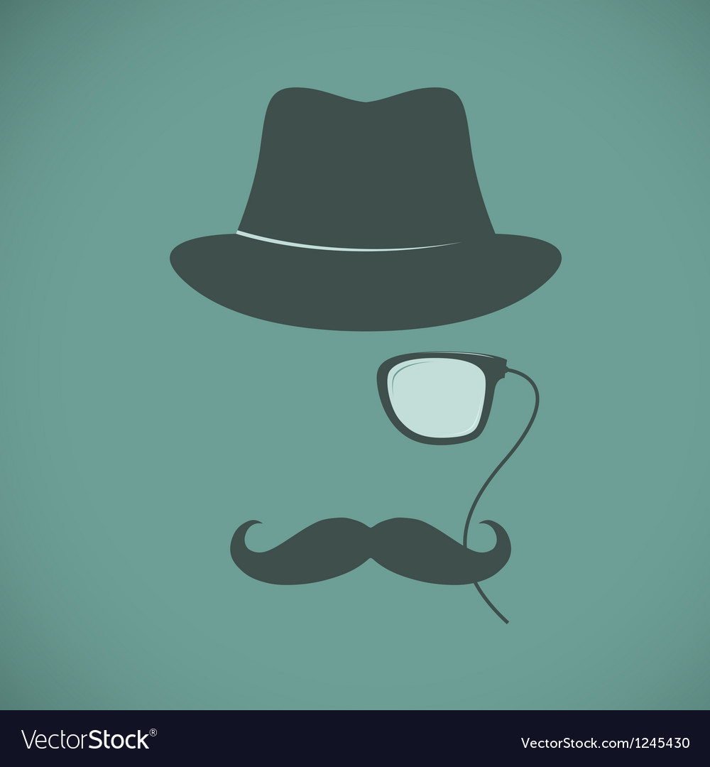 Funny vintage hipster trendy monocle poster vector | Price: 1 Credit (USD $1)