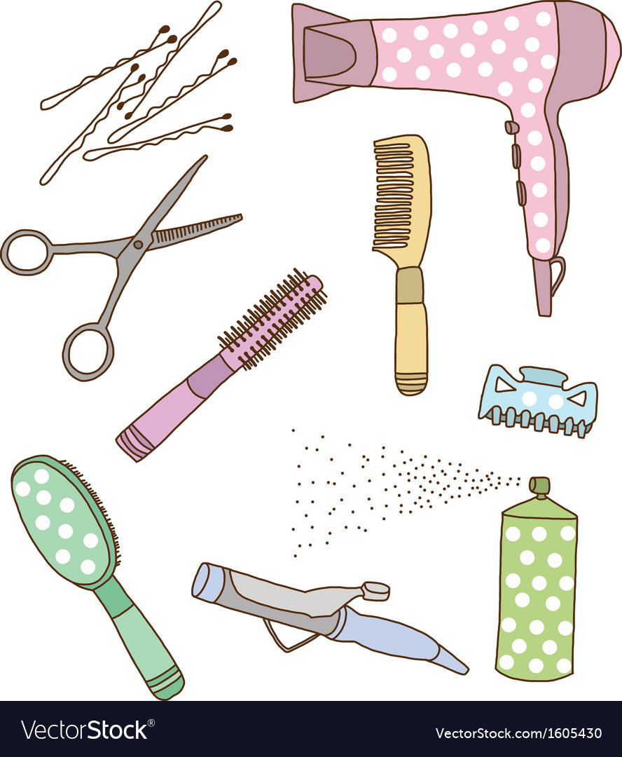Hairdresser accessories vector | Price: 1 Credit (USD $1)