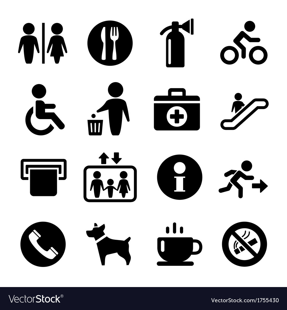 International service signs icon set vector | Price: 1 Credit (USD $1)