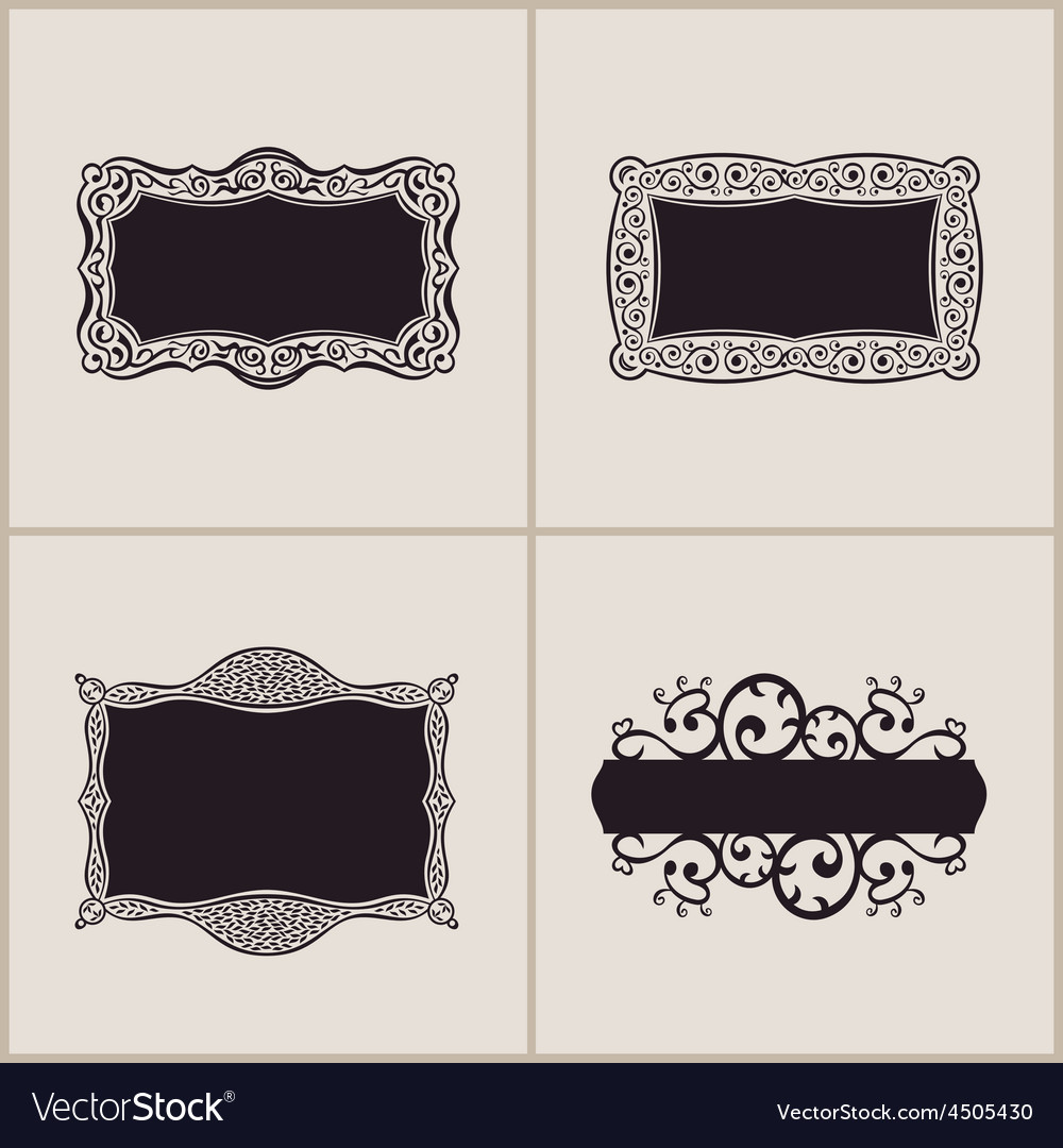 Label frames elegant border set floral banner vector | Price: 1 Credit (USD $1)