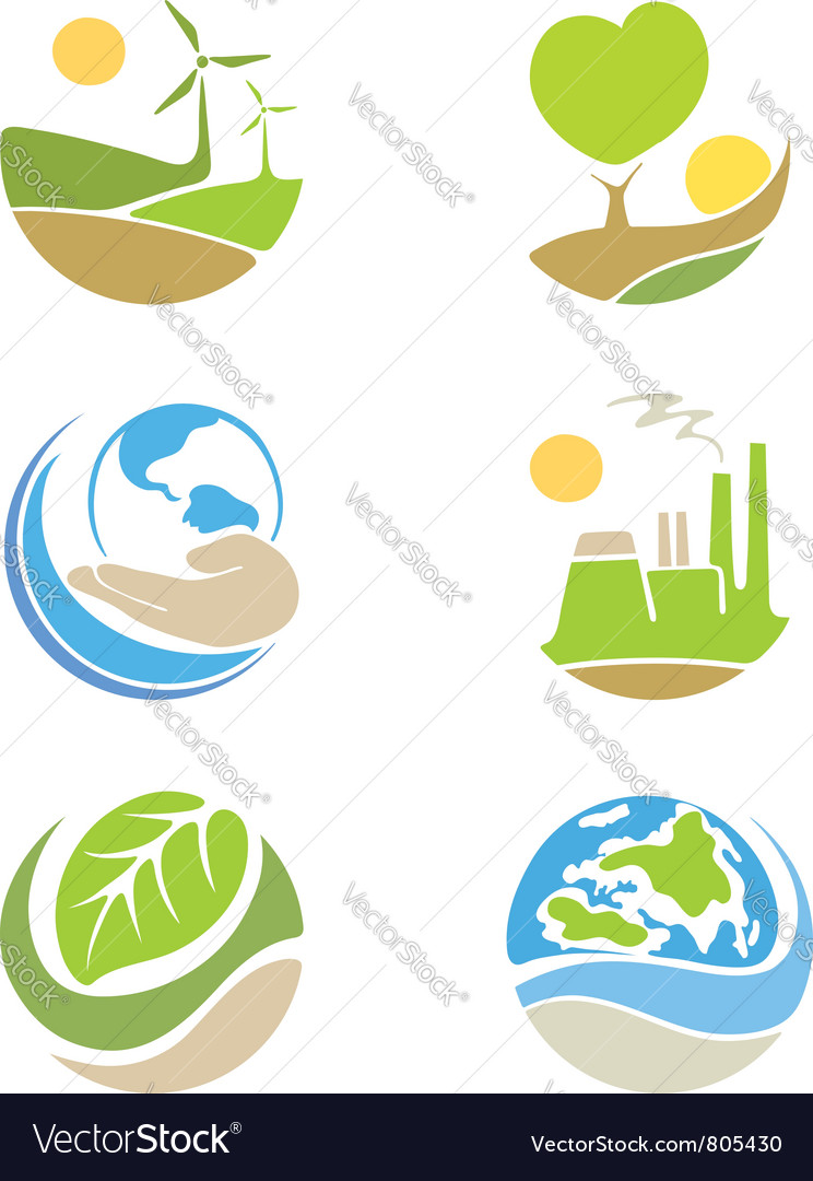 The logos on the theme ecology vector | Price: 1 Credit (USD $1)