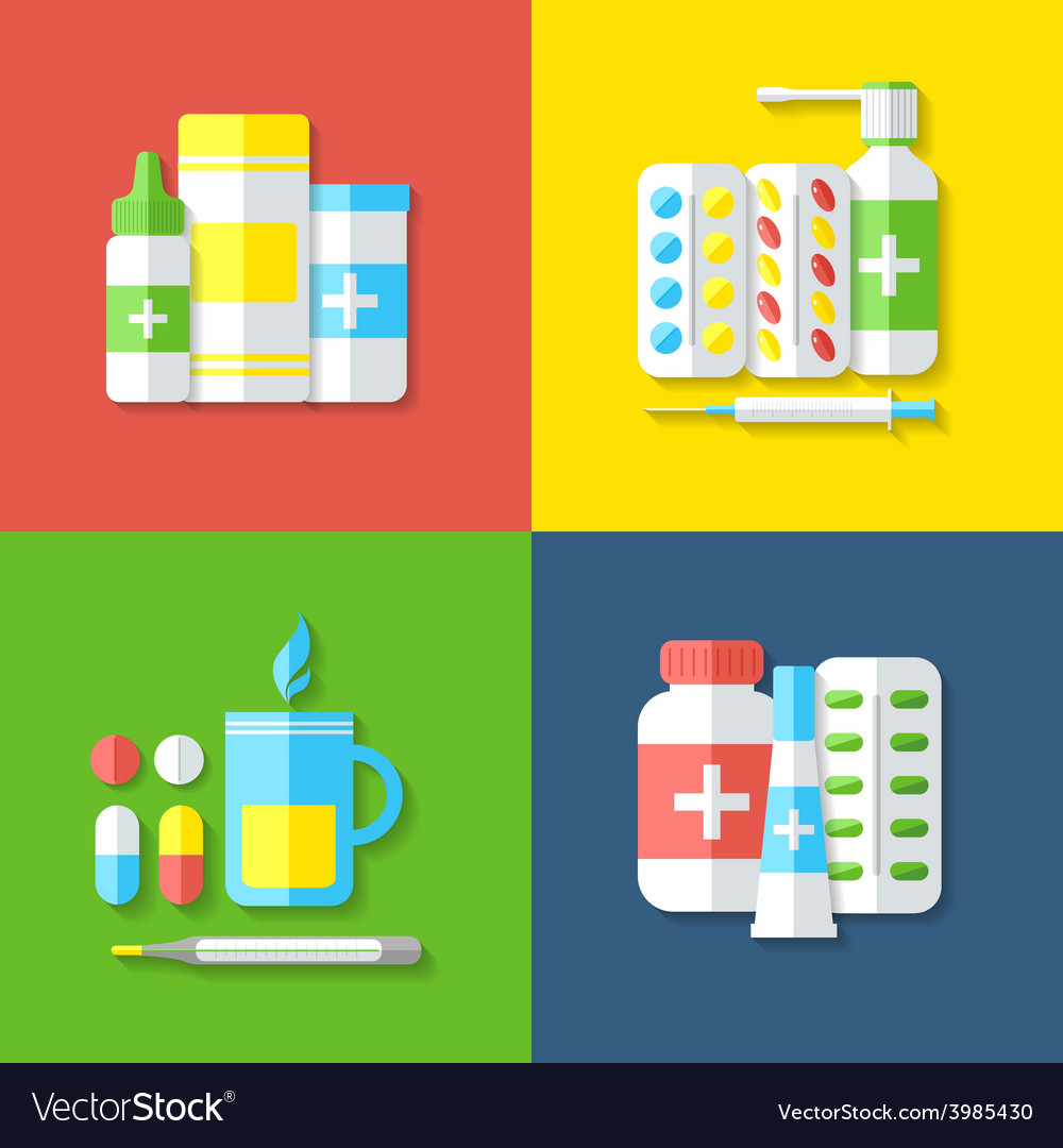 Medicines isolated objects vector | Price: 1 Credit (USD $1)