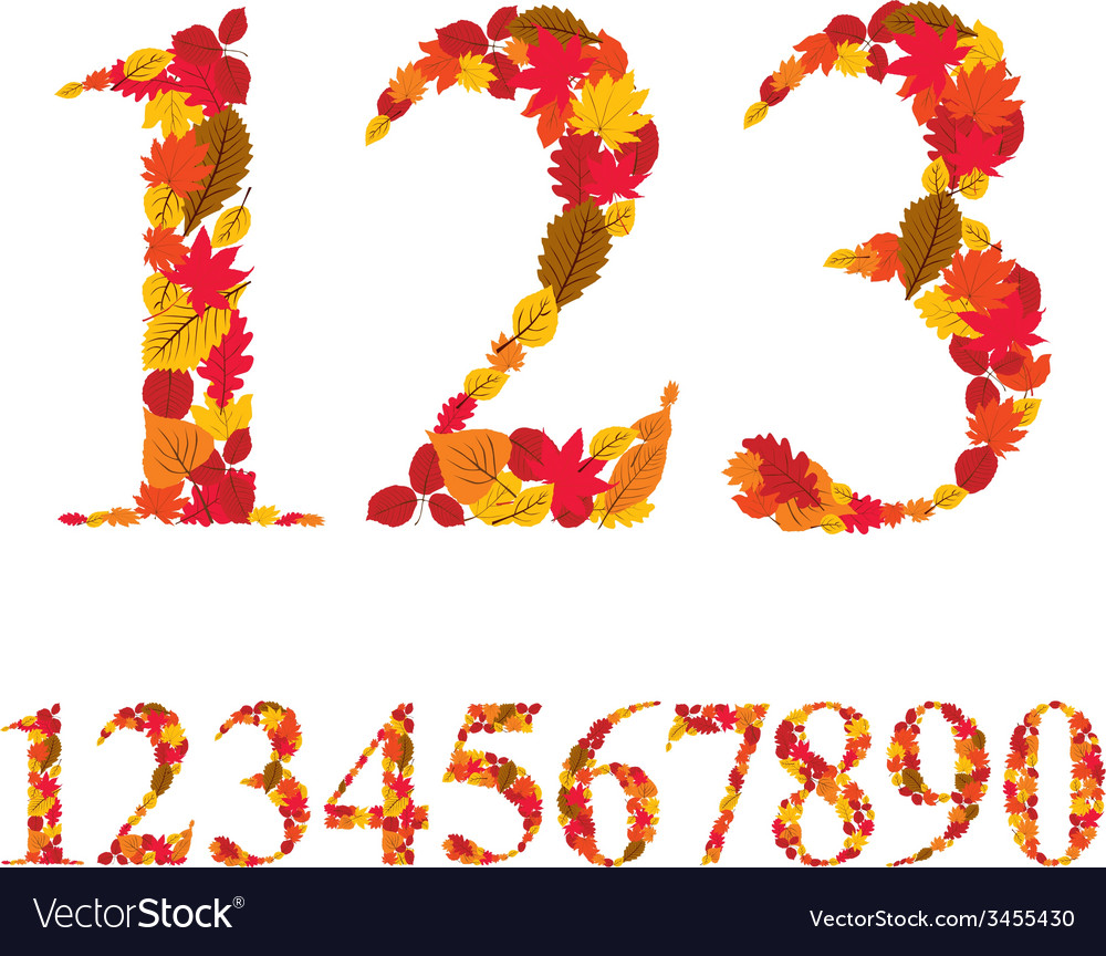 Numbers made with leaves floral numerals set vector | Price: 1 Credit (USD $1)