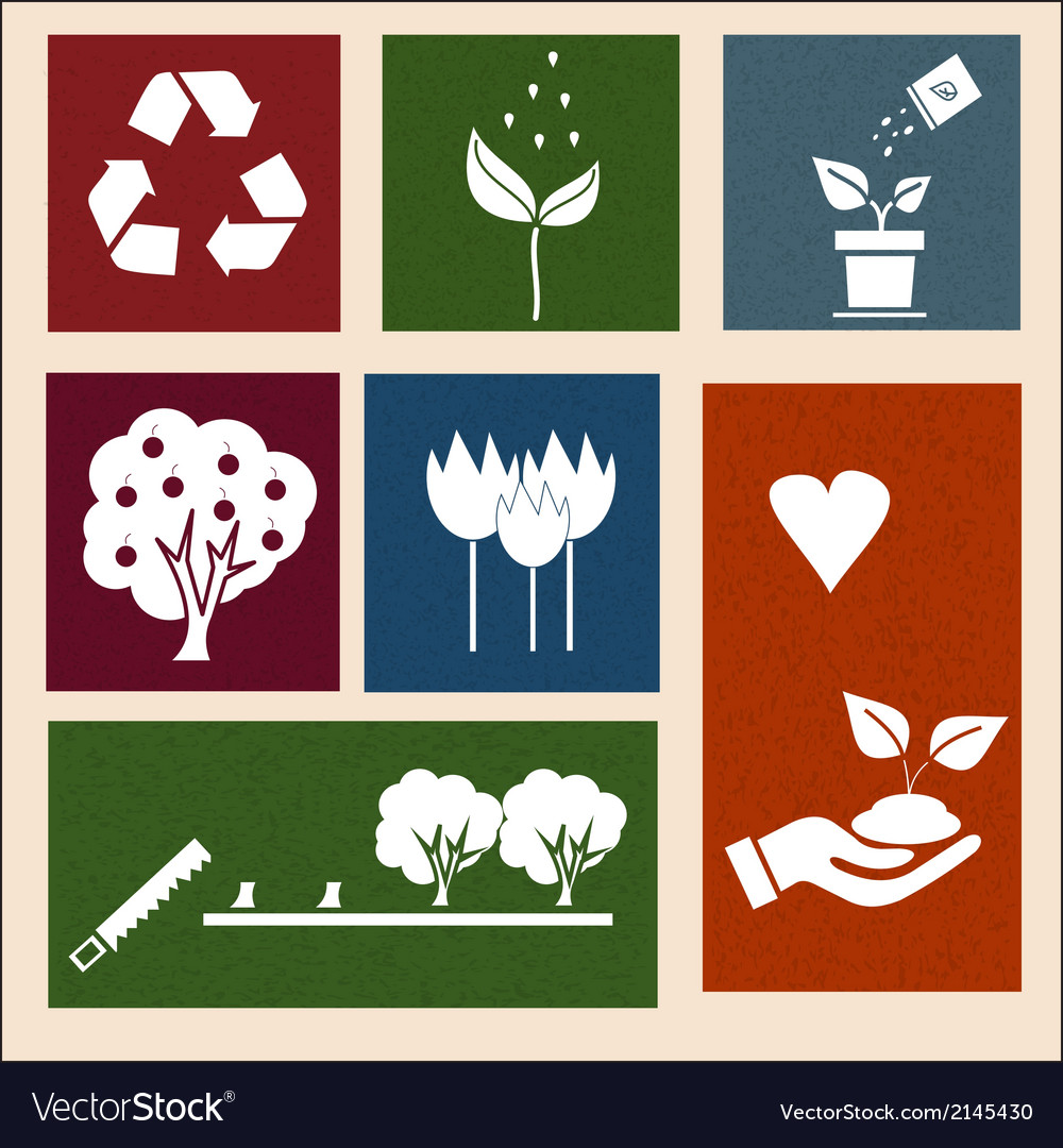 Retro labels with ecology signs and icons vector | Price: 1 Credit (USD $1)