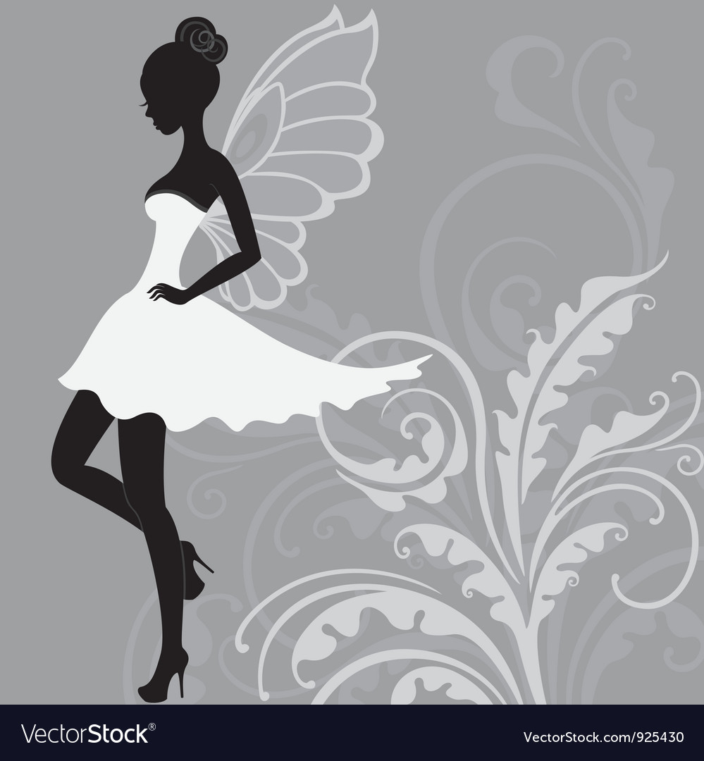 Silhouette of beautiful fairy vector | Price: 1 Credit (USD $1)