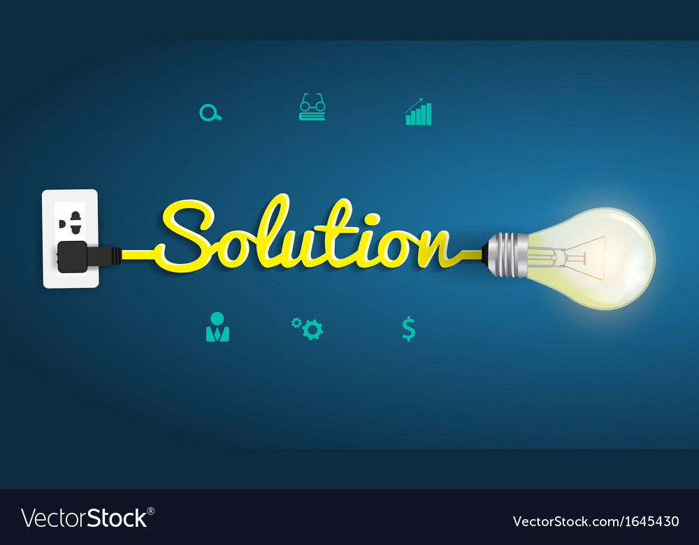 Solution concept with creative light bulb idea vector | Price: 1 Credit (USD $1)