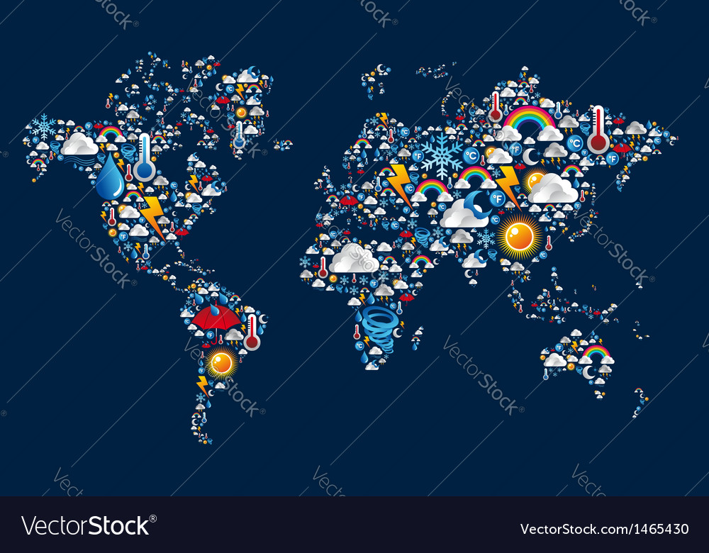 Weather icons set on map world shape vector | Price: 1 Credit (USD $1)