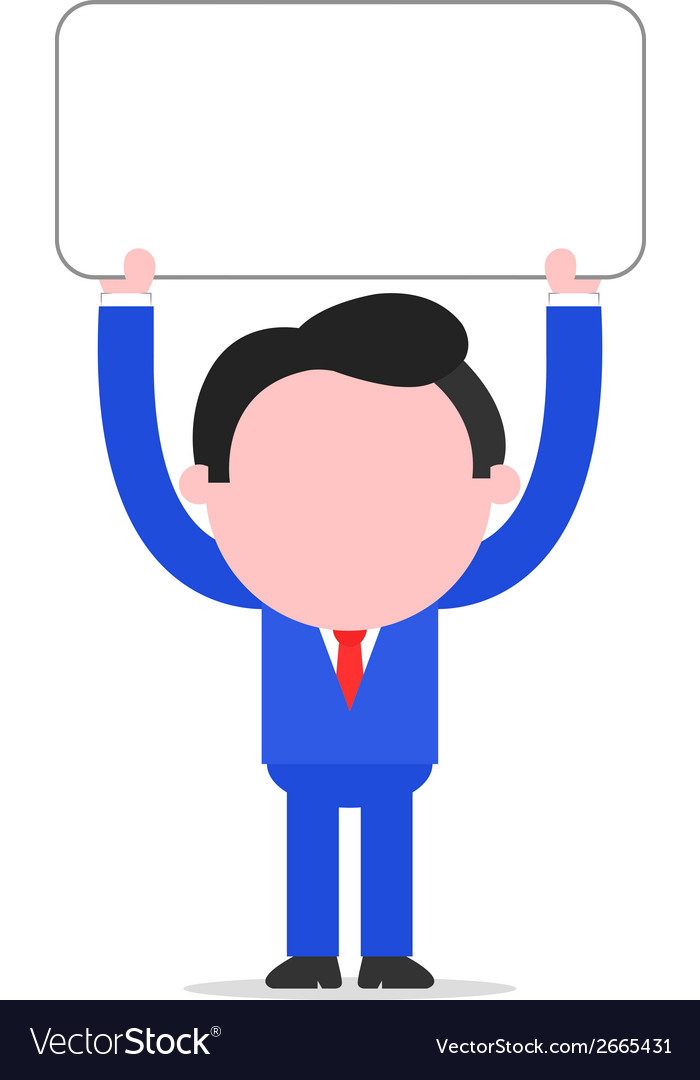 Businessman holding placard vector | Price: 1 Credit (USD $1)
