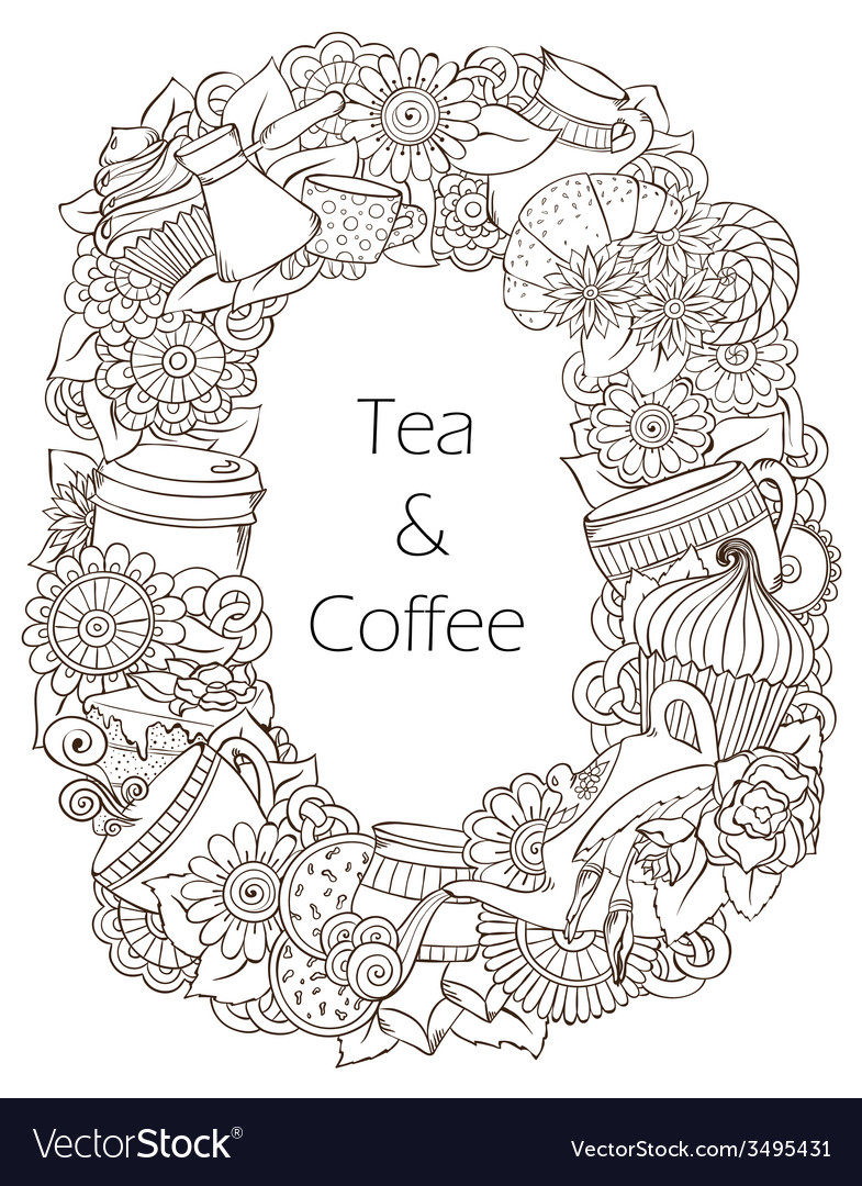 Coffee and tea sketch doodles pattern vector | Price: 1 Credit (USD $1)