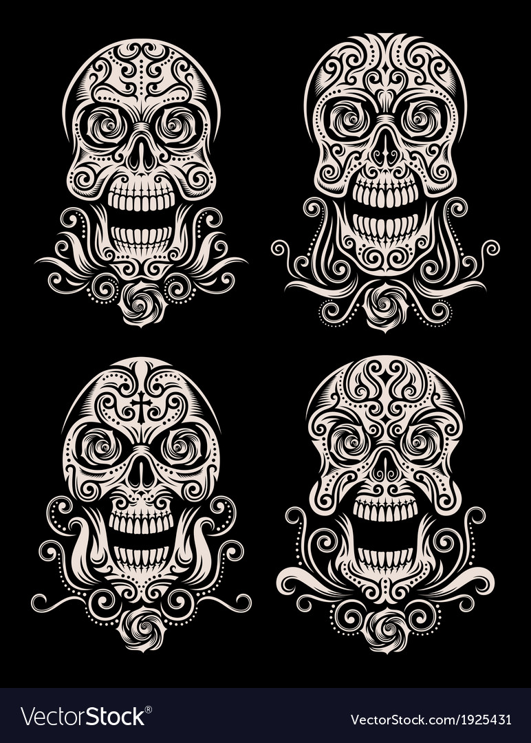 Day of the dead skull tattoo set vector | Price: 1 Credit (USD $1)