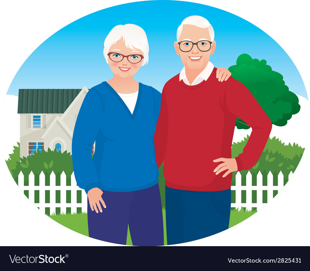 Elderly husband and wife are in their household vector | Price: 1 Credit (USD $1)