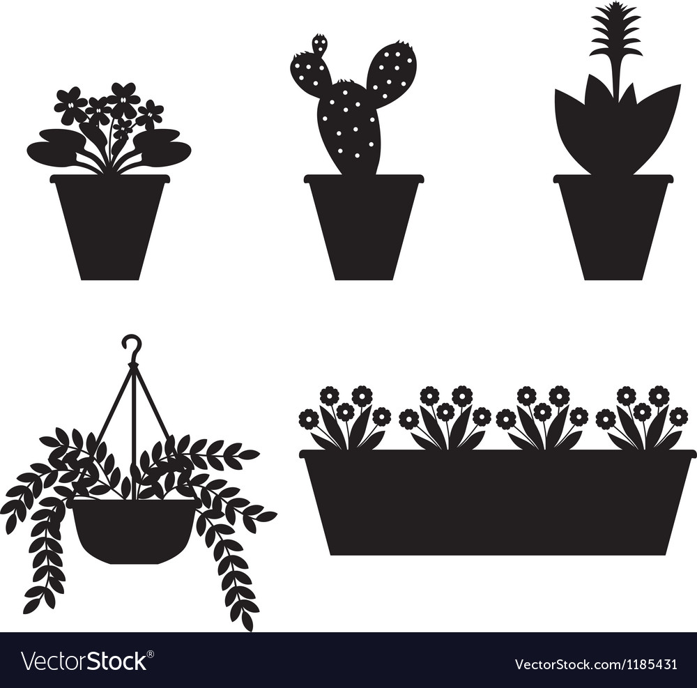 Flower pot set vector | Price: 1 Credit (USD $1)