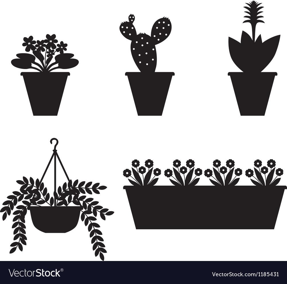 Flower pot set vector   Price: 1 Credit (USD $1)