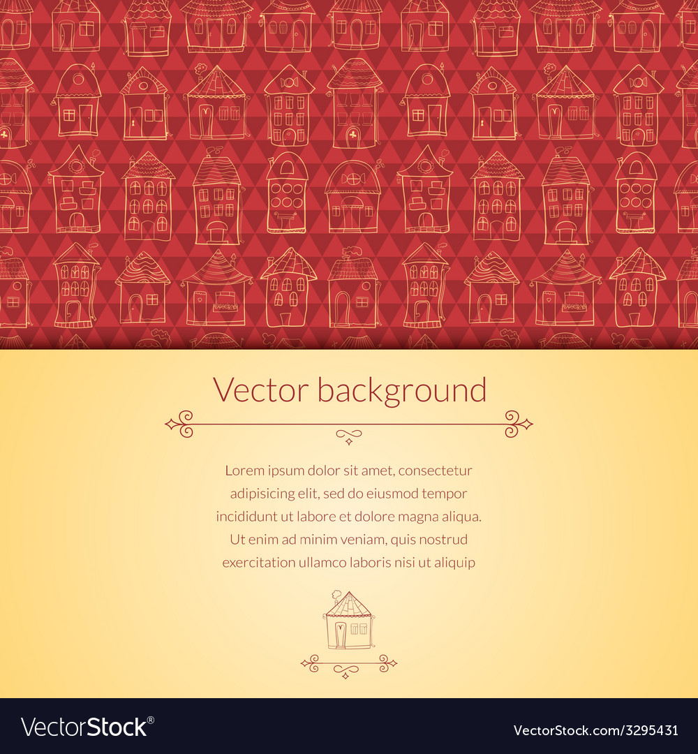 Houses pattern for template card vector | Price: 1 Credit (USD $1)