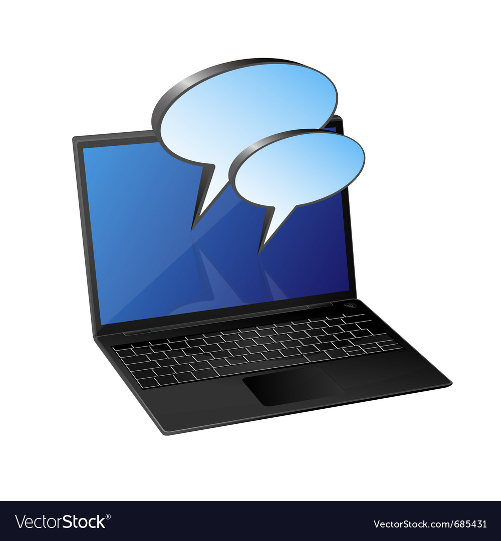 Laptop with speech bubble vector | Price: 1 Credit (USD $1)