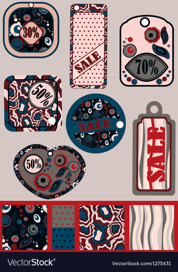 Set of retro ale tags and patterns for them vector | Price: 1 Credit (USD $1)