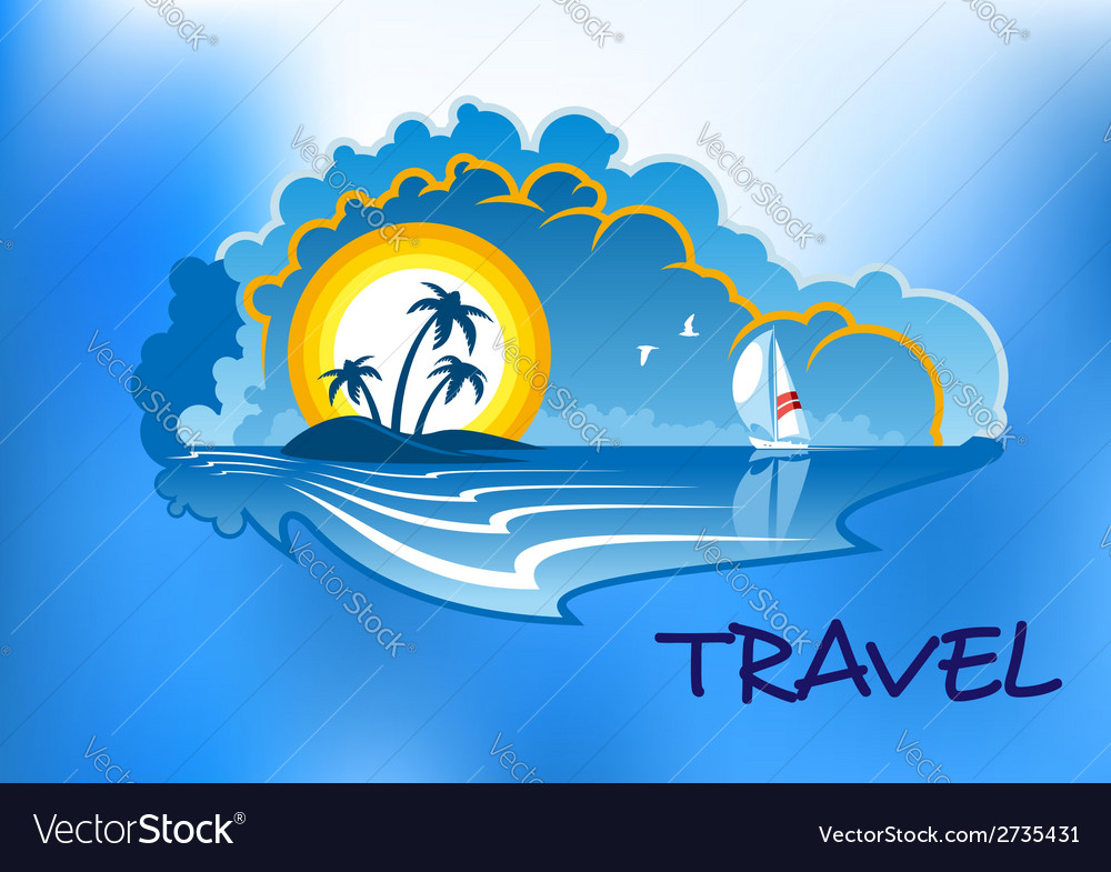 Tropical beach landscape vector | Price: 1 Credit (USD $1)
