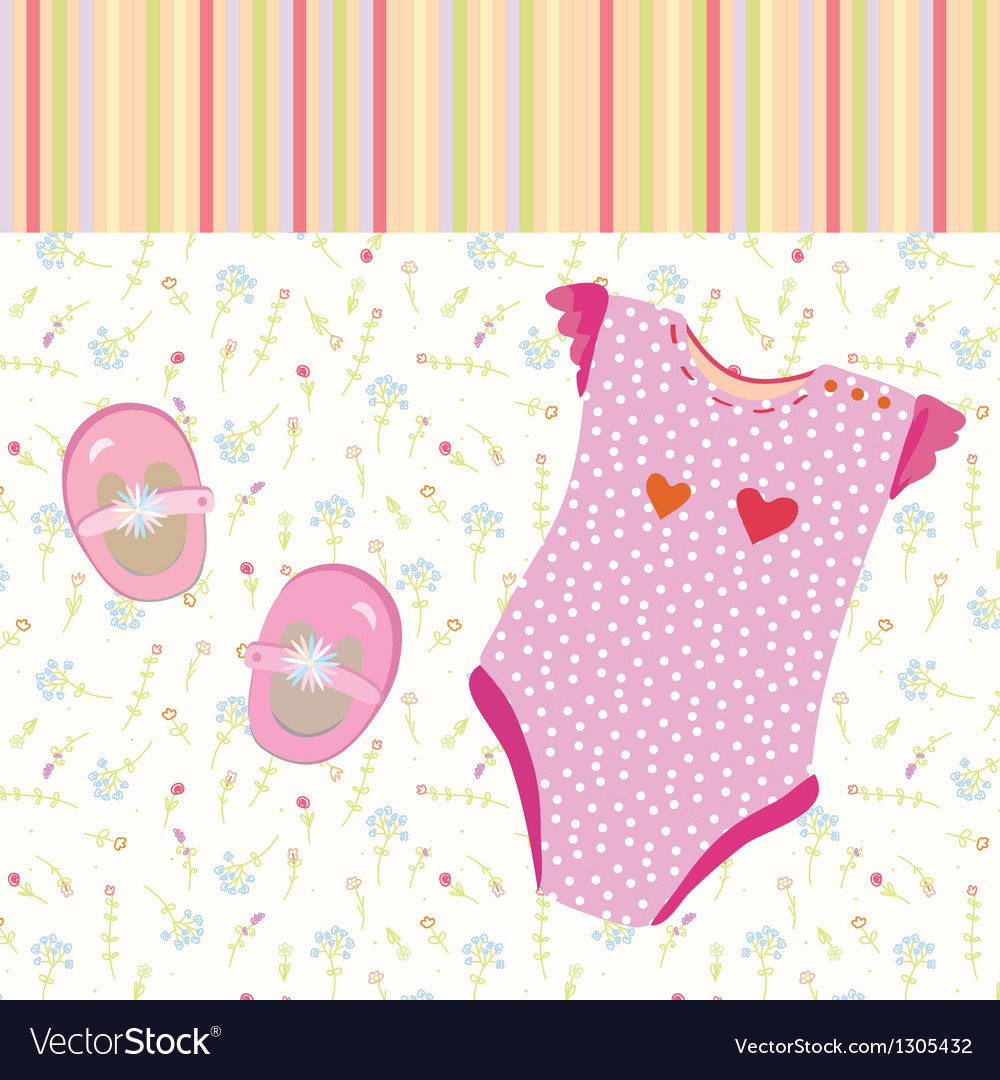 Baby girl background with shoes vector | Price: 1 Credit (USD $1)
