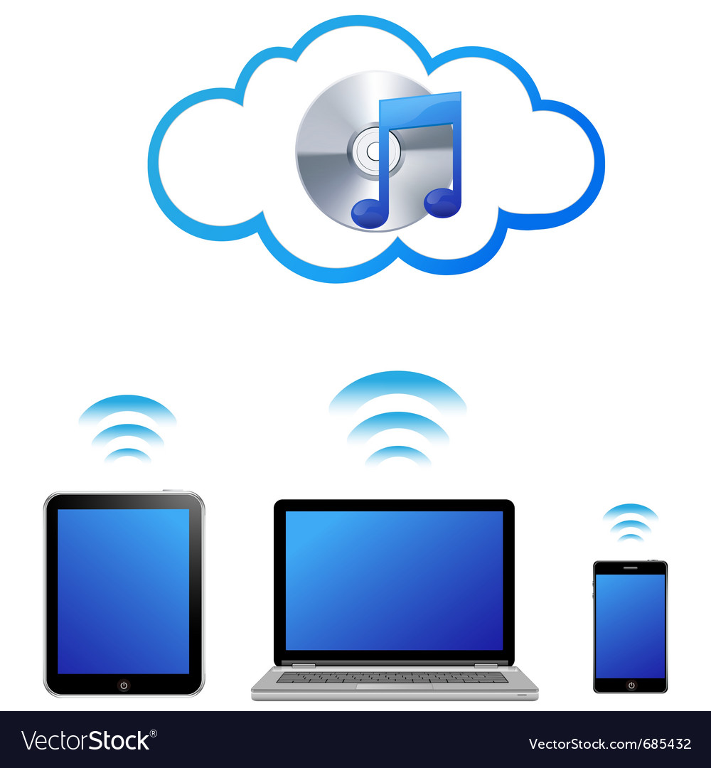 Cloud music concept vector | Price: 1 Credit (USD $1)