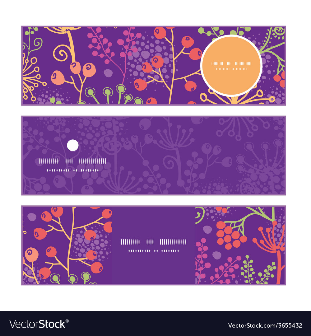 Colorful garden plants horizontal banners set vector | Price: 1 Credit (USD $1)