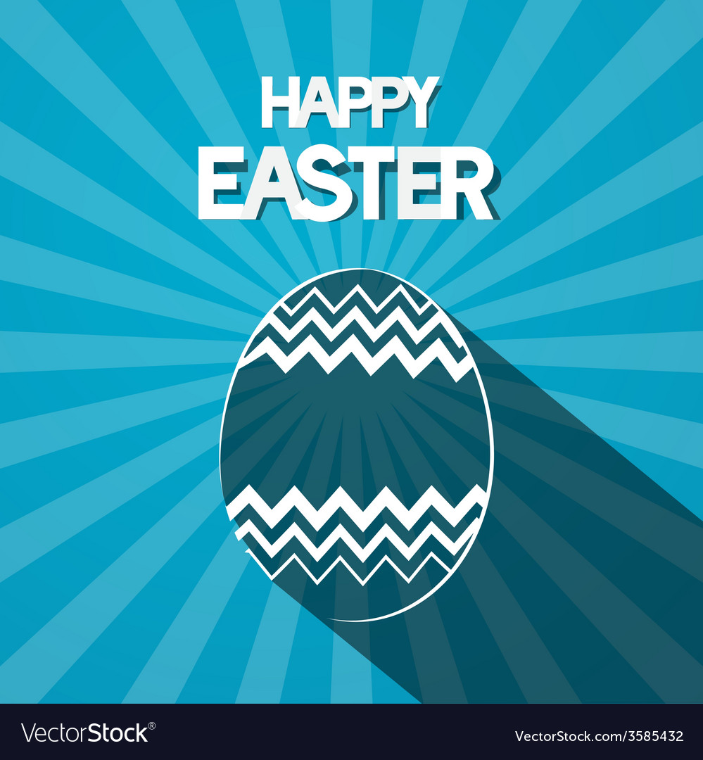 Happy easter paper egg on retro blue background vector   Price: 1 Credit (USD $1)