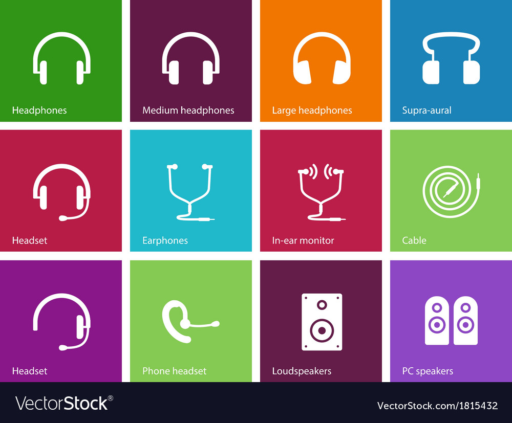 Headphones and speakers icons on color background vector | Price: 1 Credit (USD $1)