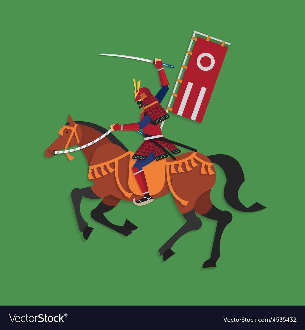 Samurai warrior riding horse with sword vector | Price: 1 Credit (USD $1)