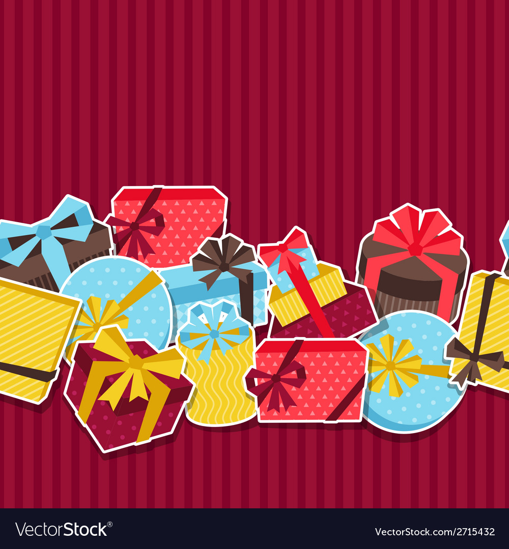 Seamless celebration pattern with sticker gift vector | Price: 1 Credit (USD $1)