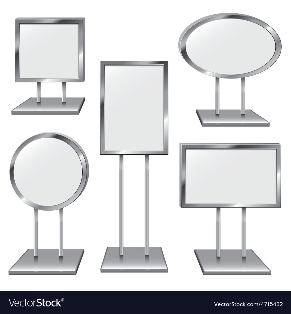 Set of five chrome sign holders vector | Price: 1 Credit (USD $1)