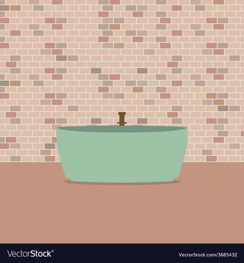 Single bathtub in front of brick wall vector | Price: 1 Credit (USD $1)