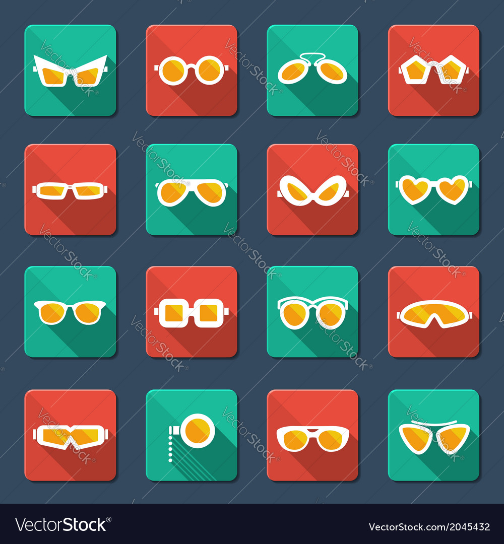 Sunglasses and glasses icons vector | Price: 1 Credit (USD $1)