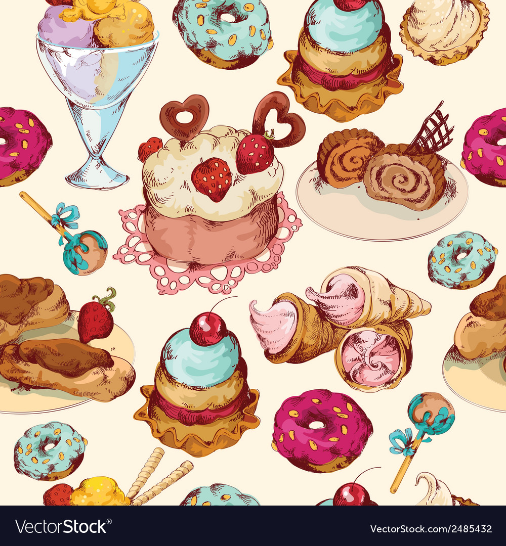 Sweets sketch colored seamless pattern vector | Price: 1 Credit (USD $1)