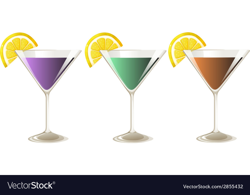 Three glasses of cocktail drinks vector | Price: 1 Credit (USD $1)