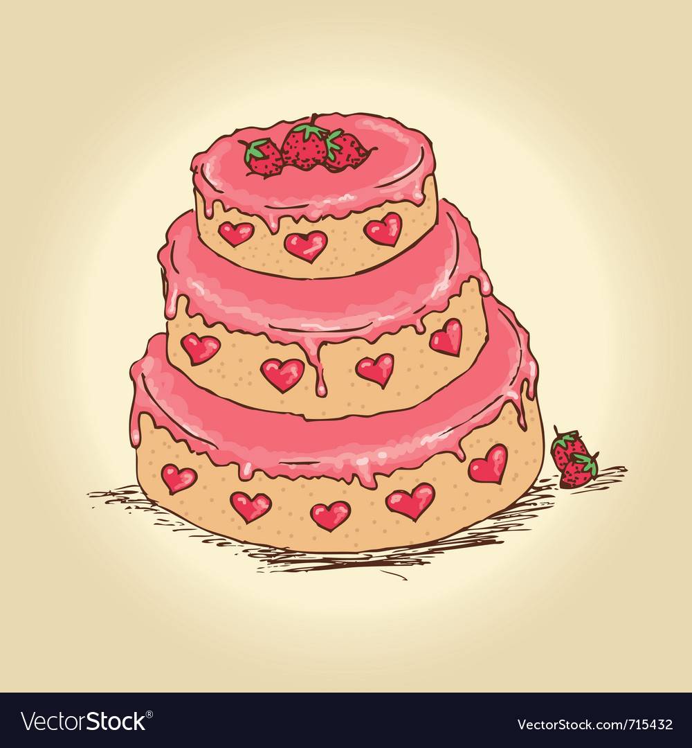 Valentine cake vector | Price: 3 Credit (USD $3)