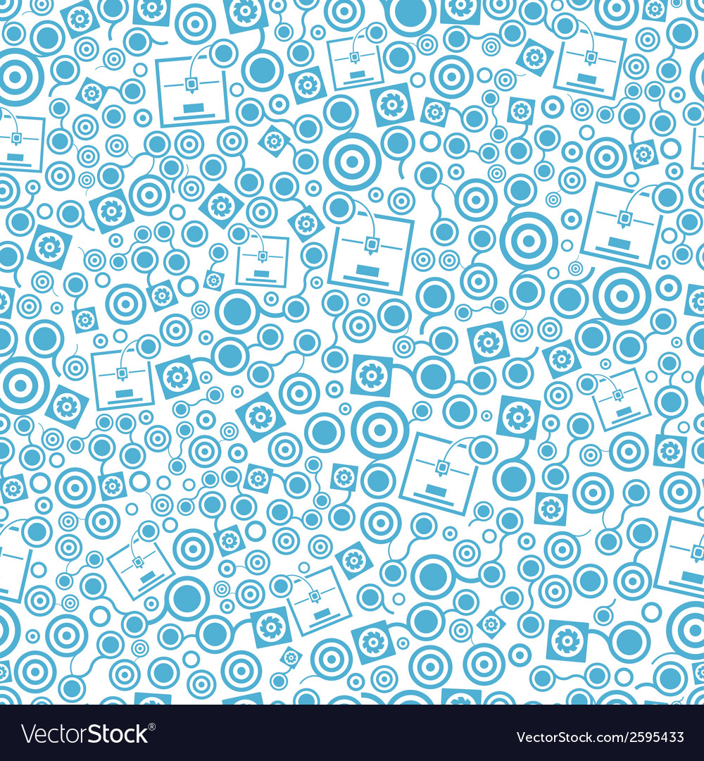 3d printer blue seamless pattern on the white vector | Price: 1 Credit (USD $1)