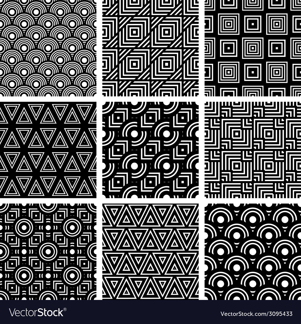 Black and white geometric seamless patterns set vector | Price: 1 Credit (USD $1)