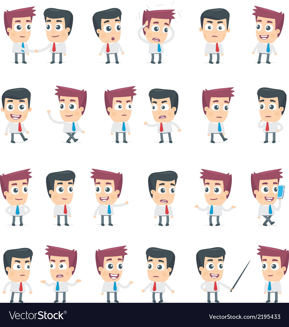Dialog poses of two business characters vector | Price: 1 Credit (USD $1)