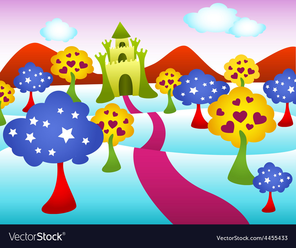 Funky castle landscape vector | Price: 1 Credit (USD $1)