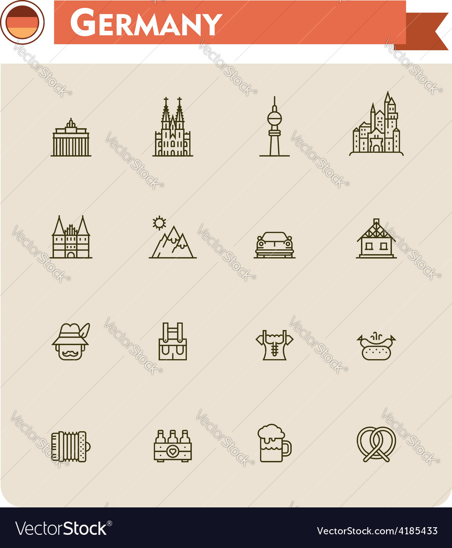 Germany travel icon set vector | Price: 1 Credit (USD $1)