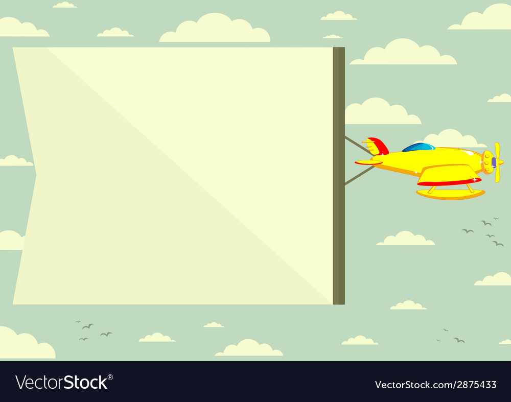 Plane with a poster vector | Price: 1 Credit (USD $1)