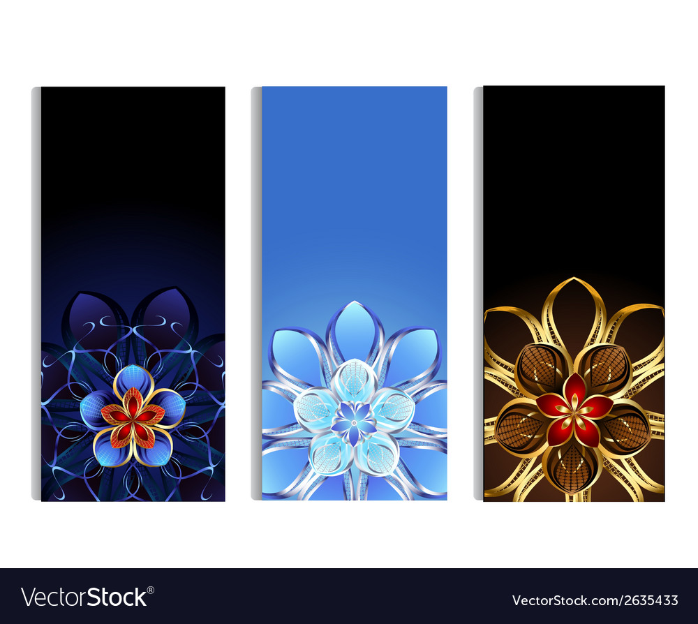 Vertical banners with abstract flowers vector | Price: 1 Credit (USD $1)