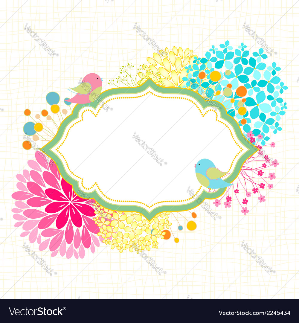 Colorful flower bird garden party invitation vector | Price: 1 Credit (USD $1)