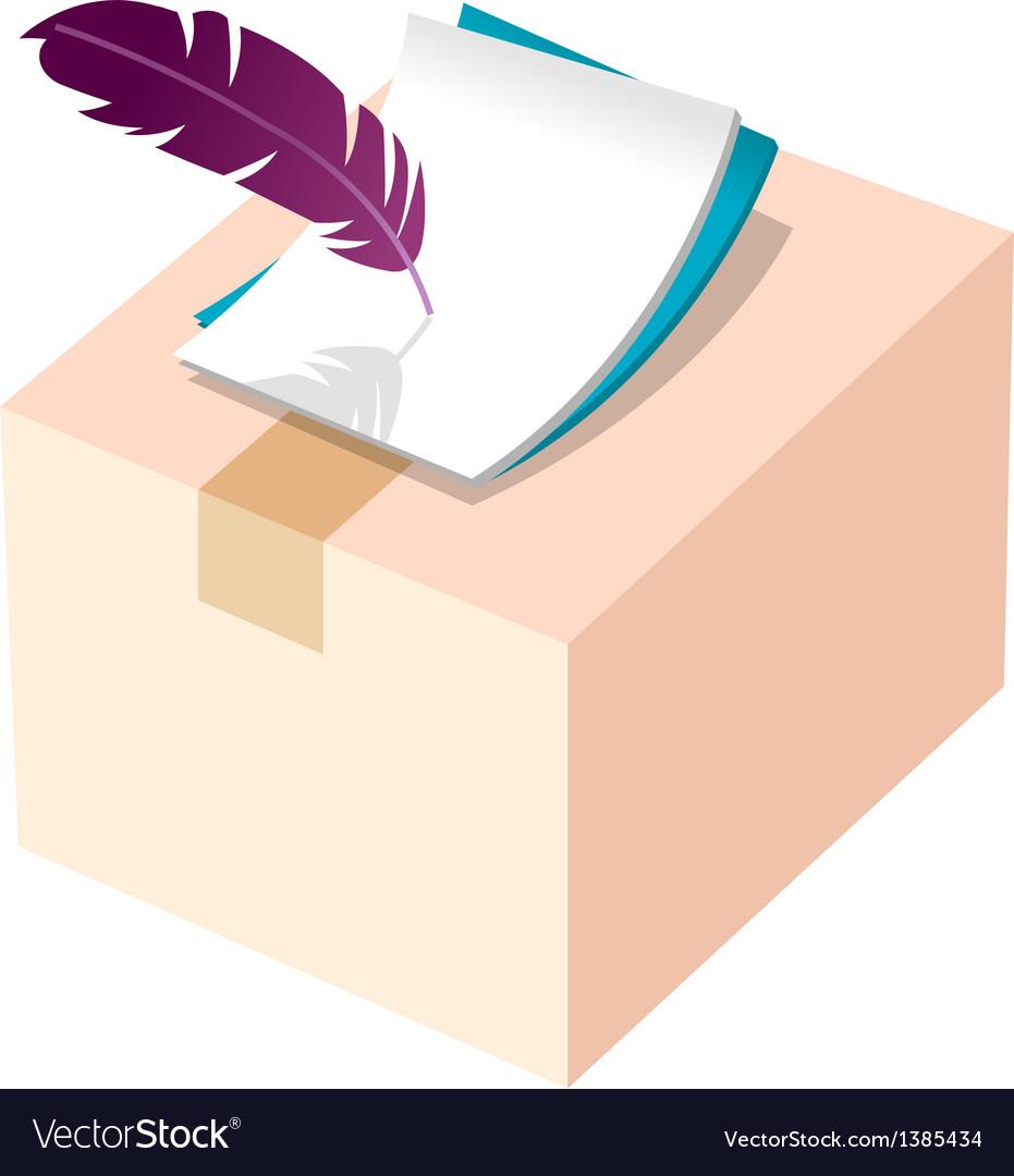 Icon box and pen vector