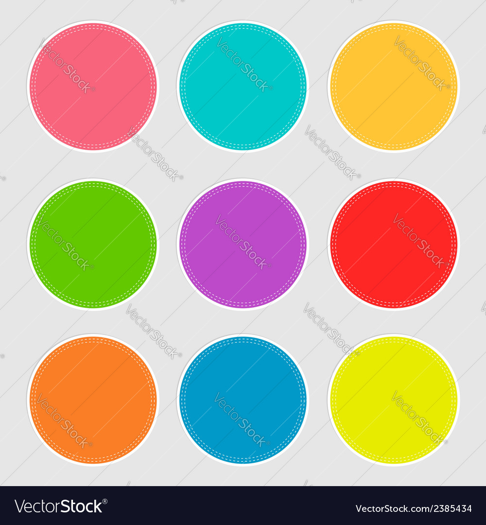 Round tag label set with dash line in flat design vector | Price: 1 Credit (USD $1)